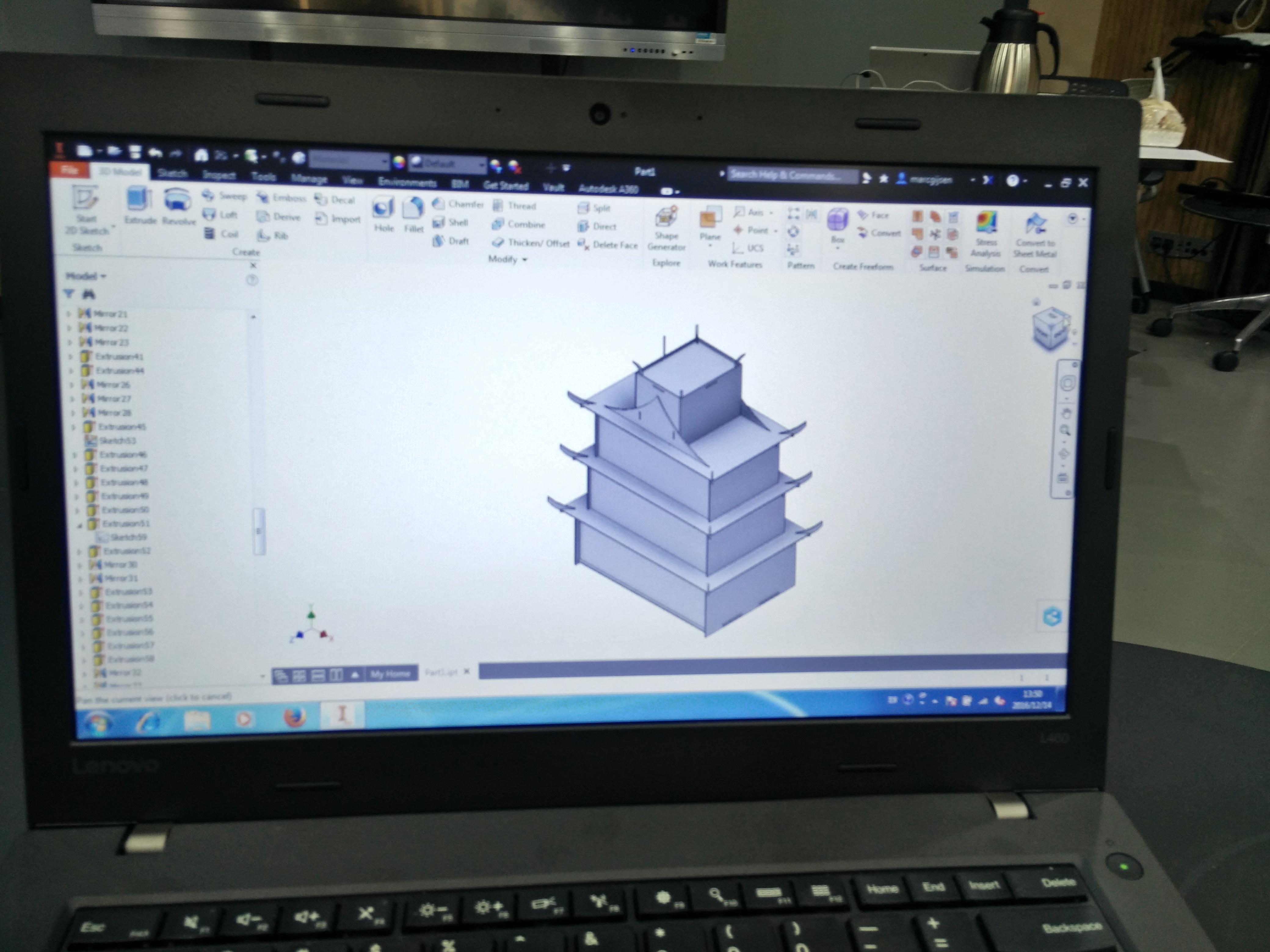 Een foto van een opbergbox die in de ontwerpfase zit