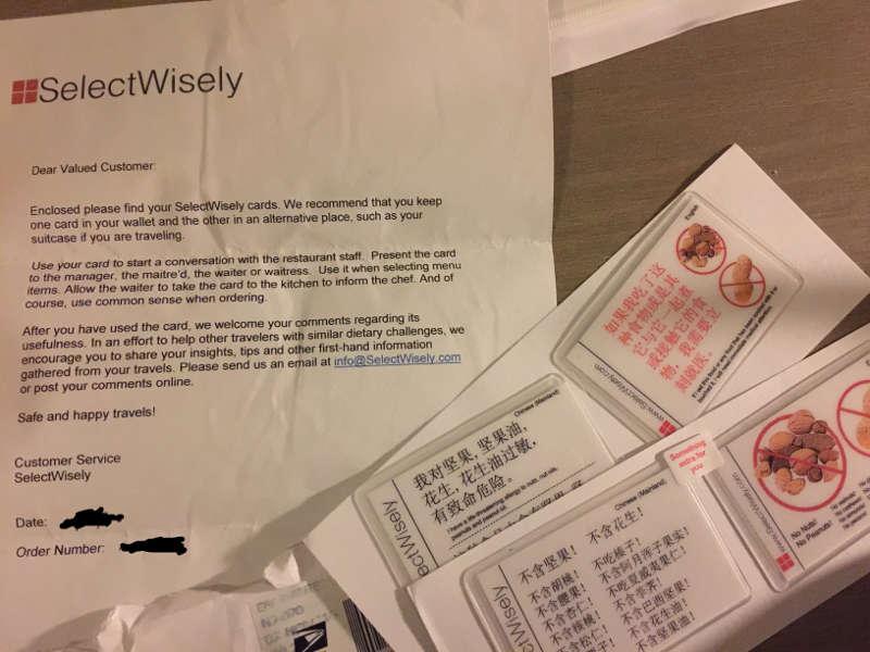 Een brief samen met anti allergie kaartjes voor China.