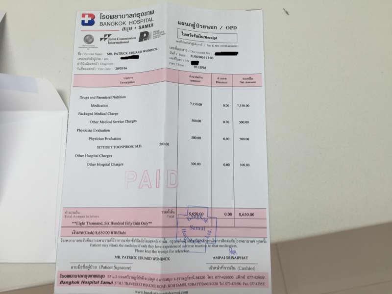 De rekening voor een Epipen gekocht in Thailand.