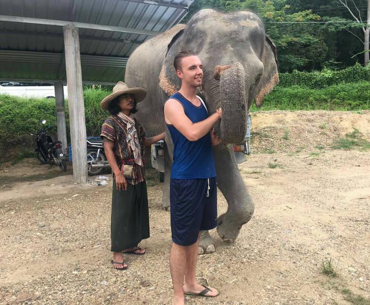 Foto van een alleen reiziger die gemoedelijk hand in hand met een olifant staat.