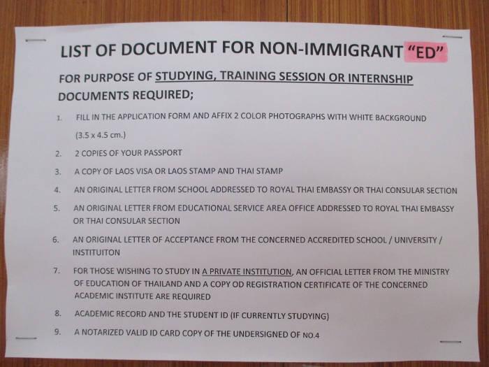 Benodigdheden voor het verkrijgen van een ED visum voor Thailand