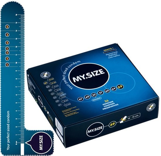 Afbeelding van een doosje met My.Size condooms met als maat 69.