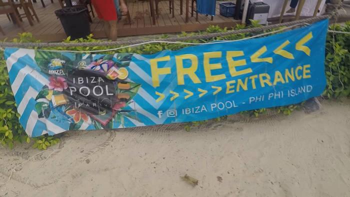 Afbeelding van de entreekosten van de Ibiza pool party in Koh Phi Phi.