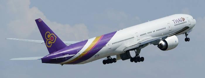 Afbeelding van een vliegtuig van Thai Airways.