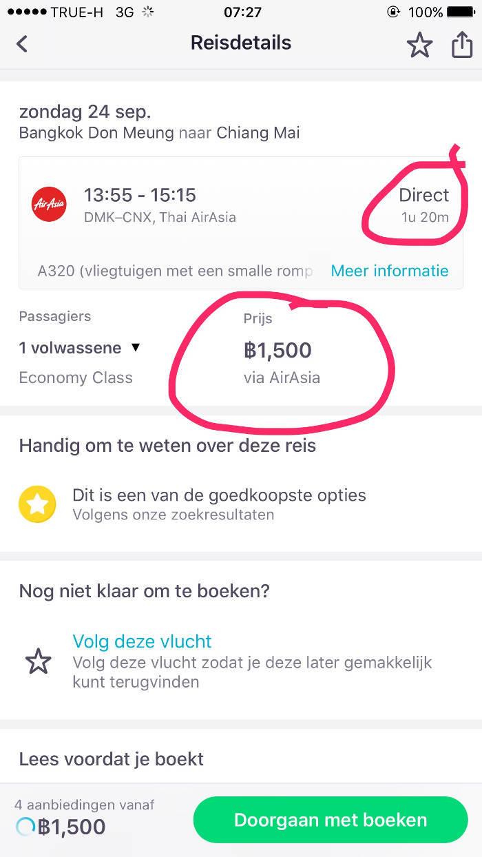 Afbeelding met daarop de prijs van een binnenlandse vlucht door Thailand.