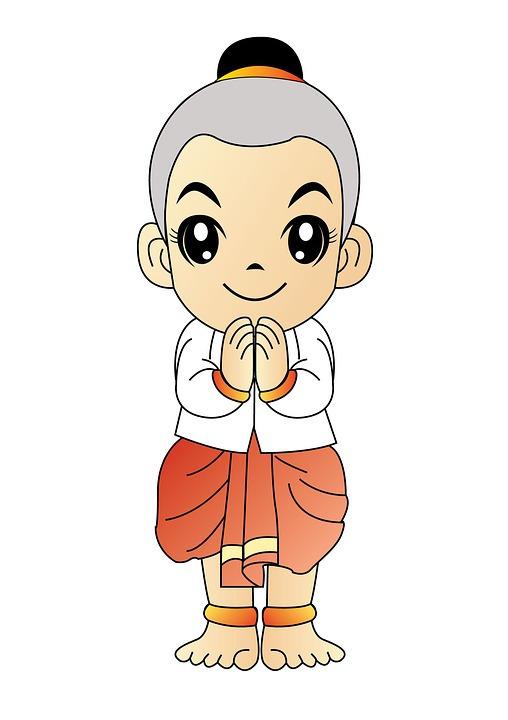 Afbeelding van een animatie poppetje die een Wai maakt.