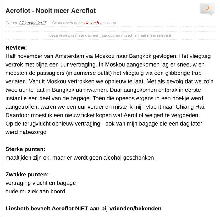 Een review over Aeroflot door Liesbeth.
