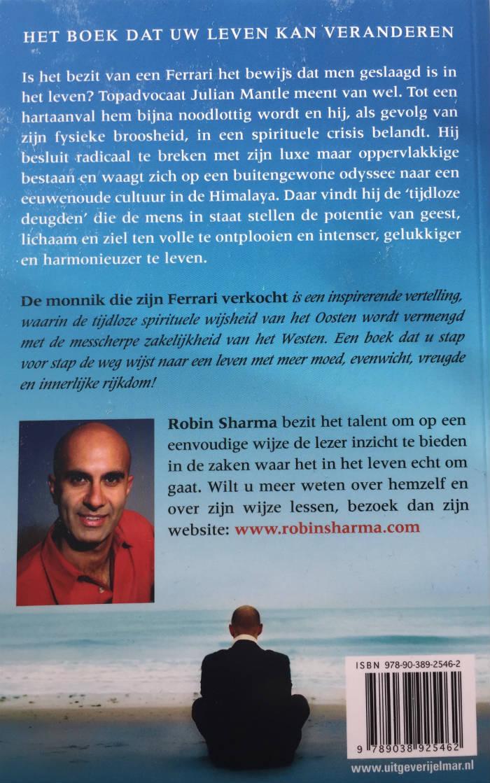Achterkant van het boek de monnik die zijn Ferrari verkocht.