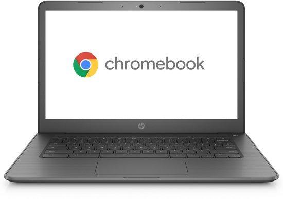 Foto van een 14 inch HP chromebook in de kleur zwart.