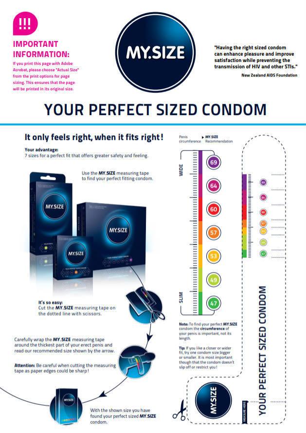 Foto van het meetlint van MY.SIZE condooms waardoor jij eenvoudig jouw penismaat kan opmeten.