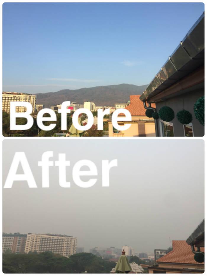 Foto van een foto hoe de luchtkwaliteit in Chiang Mai eerst was en hoe het eruitziet als er veel smog aanwezig is.