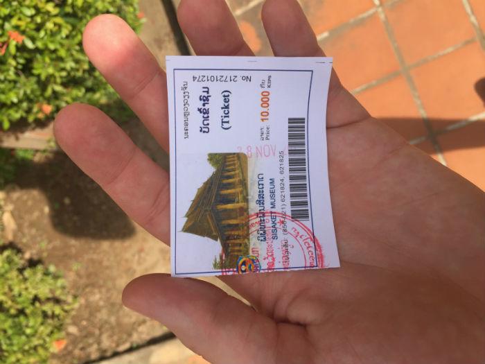 Foto van een toegangsbewijs voor de Wat Sisaket tempel.