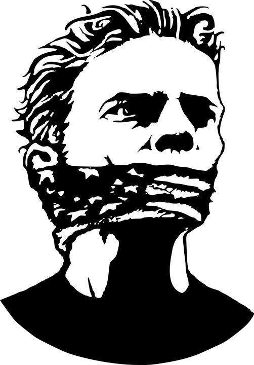 Afbeelding van een man met een bandana voor zijn mond, dit staat voor censuurschap.