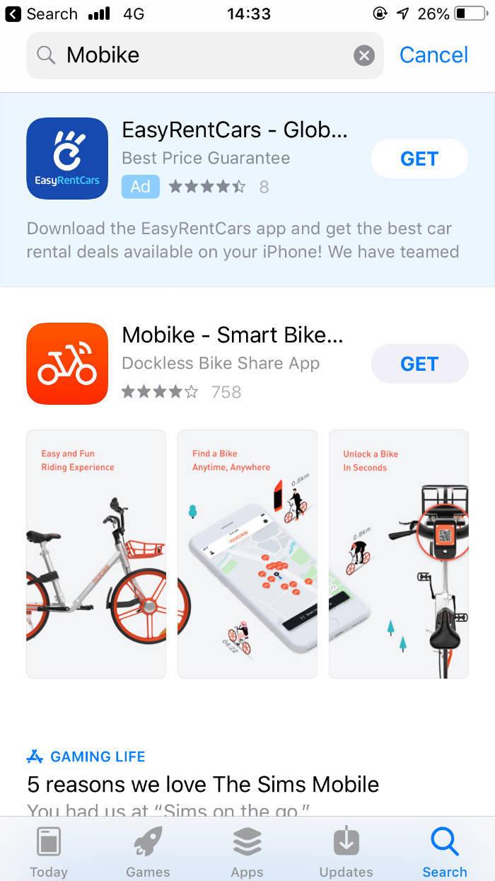Screenshot van de Mobike applicatie die te vinden is in de app store.