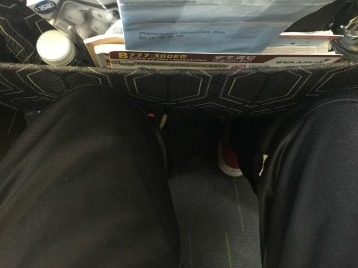 Beenruimte in de Economy class op een Eva Air vlucht.