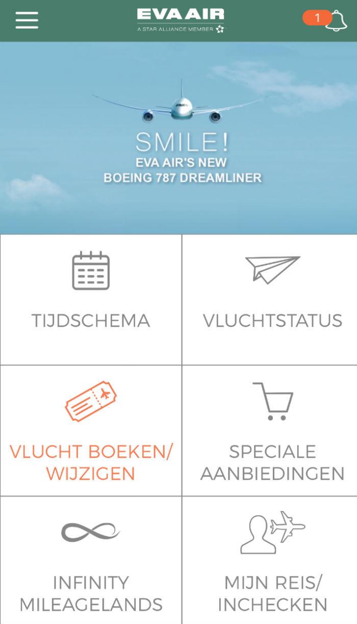 Overzicht van de mobiele app van Eva Air.